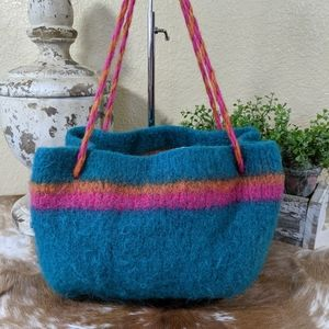 Boho Chic Hand Knit Felted Hobo Tote Bag